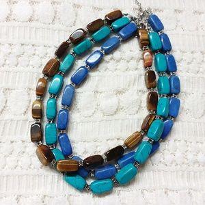 Jewelry - Semi Precious Chunky Blue & Brown Necklace Lot